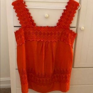 Bright orange/red summer lace top